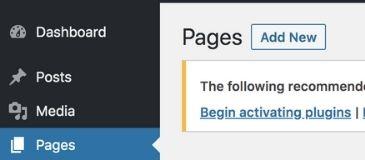 add new page to wordpress blog