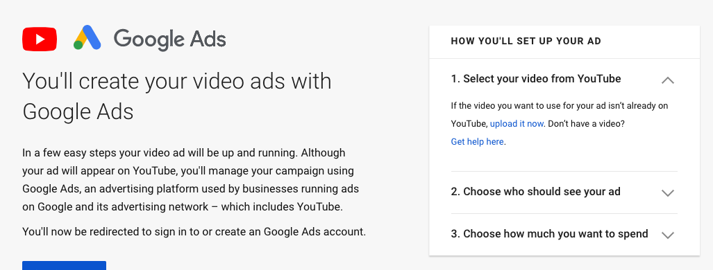 creating youtube ads in google ads account for video ads
