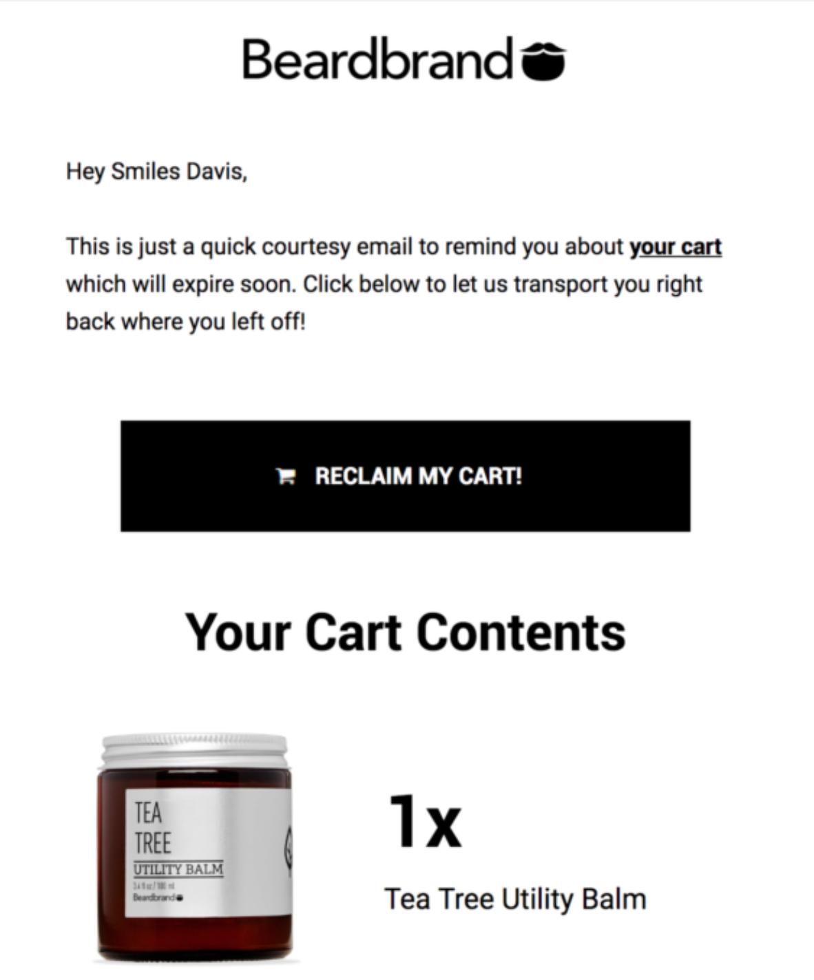 BeardBread abandoned cart email