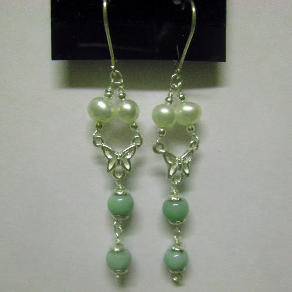 Sterling Silver 925 White Pearls & Green Opal Set Necklace bracelet and earrings