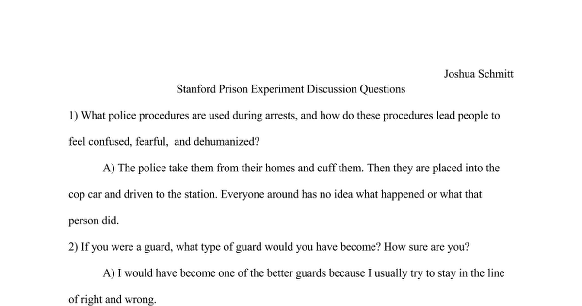 stanford prison experiment essay example When put into an authoritative position over others, is it possible to claim that with this new power individual(s) would be fair and ethical or could it be said that.