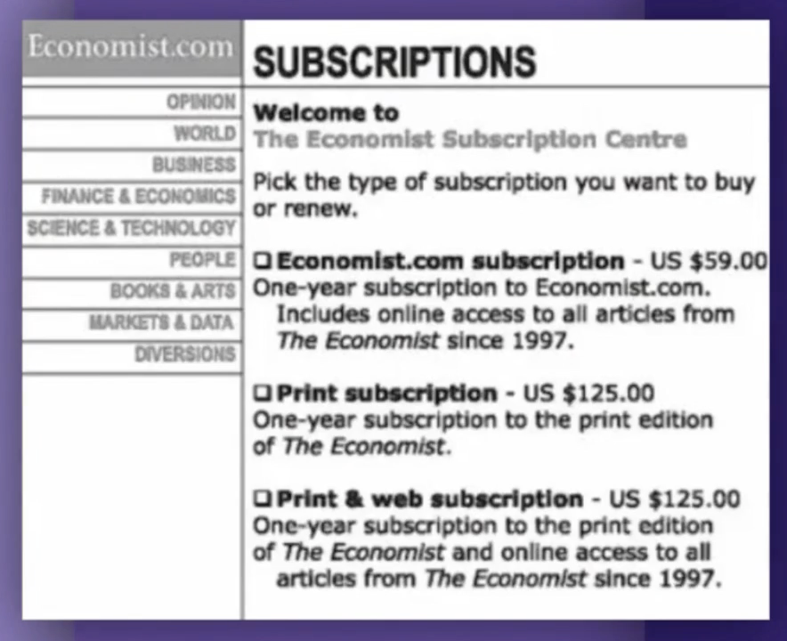 Suscription prices for The Economist is an example of the decoy effect in action.