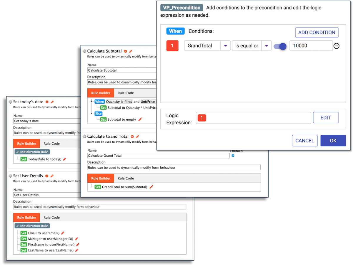 Screenshots of the conditional logic builder shows how to visually create rules for your business workflow