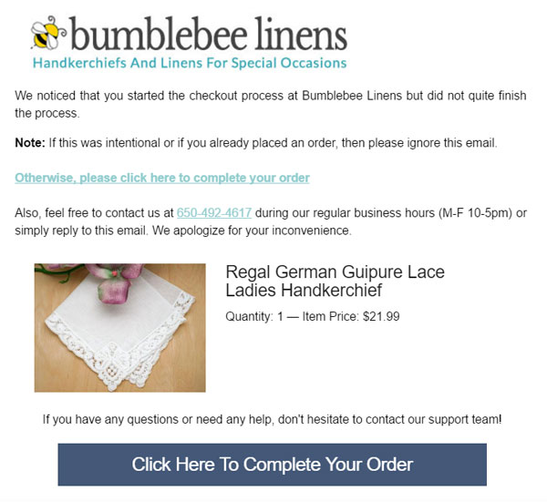 Bumblebee linens first abandoned cart email