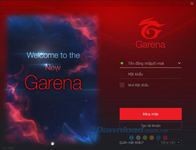 Đăng nhập Garena 2.0