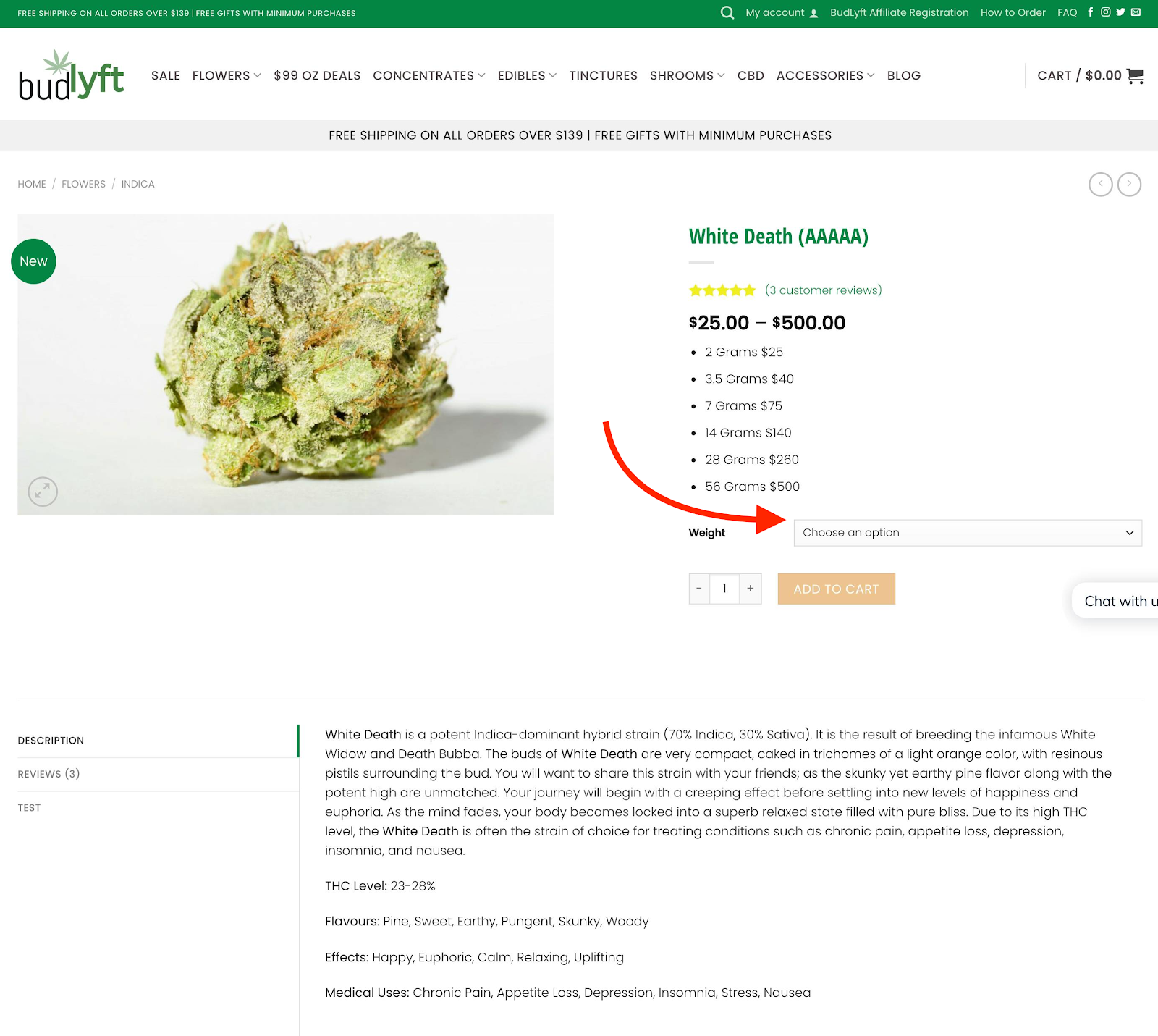 Buy Weed Online - Product Option Selection