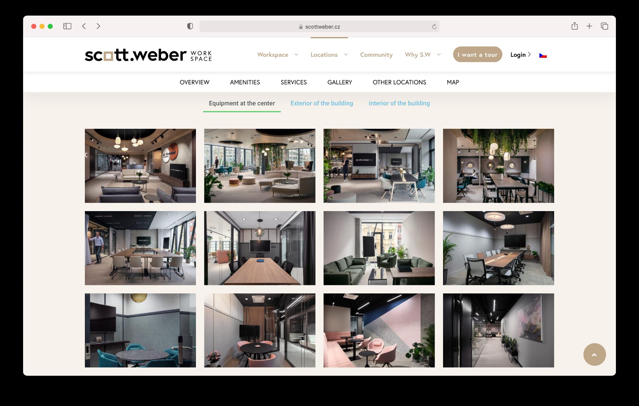 Screen shot of Scott Weber website with images shot by Jiri Lizler