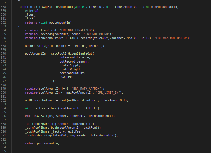 Balancer Codeblock: exitSwapExternAmountOut function
