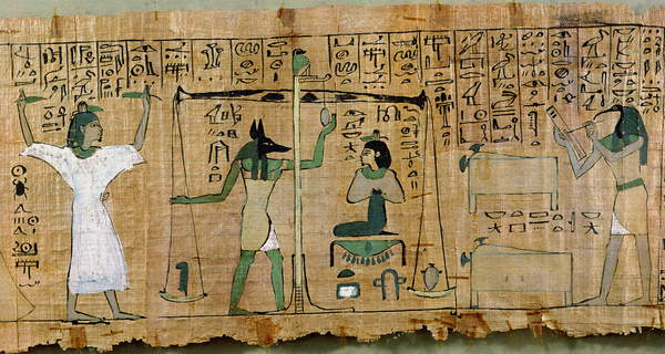 Image of Funerary papyrus of Djedkhonsouefankh depicting the judgement of the deceased, Third Intermediate Period (papyrus), Egyptian 21st Dynasty (c.1069-945 BC) / Egyptian, Egyptian National Museum, Cairo, Egypt, © Bridgeman Images