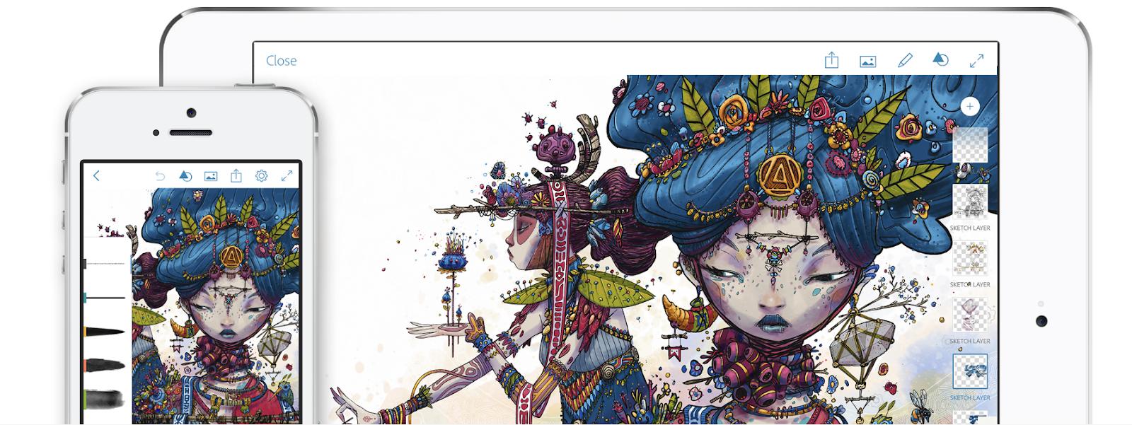 iPad mit digitaler Malerei auf dem Bildschirm für iPad und iPhone-Display