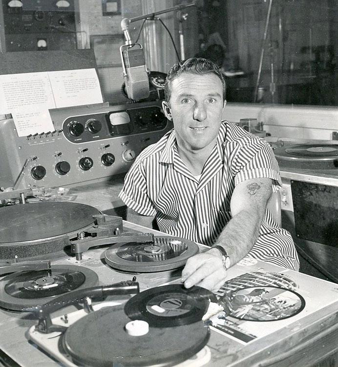Baci as a disc jockey at Sonora radio station KVML in 1956