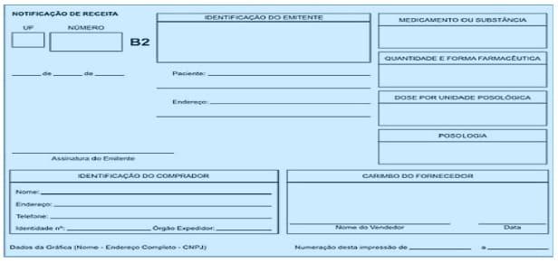 notificação de receita azul de controle especial