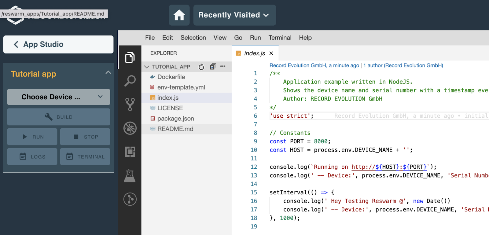 the Record Evolution cloud IDE where you develop IoT apps remotely