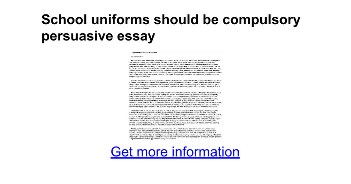 short essay on school uniforms School uniforms promote student's loyalty and reduce students tendency to be  violent  to wear a short skirt as their school uniform is not an appropriate  choice  a teacher's guide: tips on writing an organized five paragraph  essay.