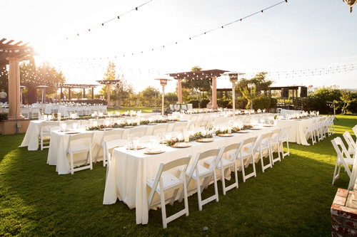 wedding winery tables and chairs set for dinner