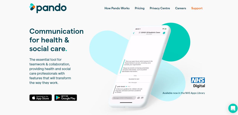 Screenshot of Pando's home page