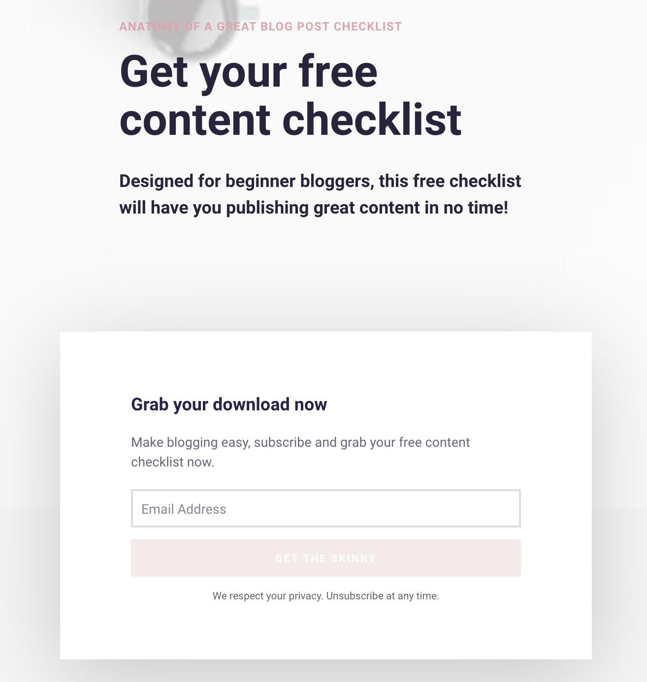 Free content checklist