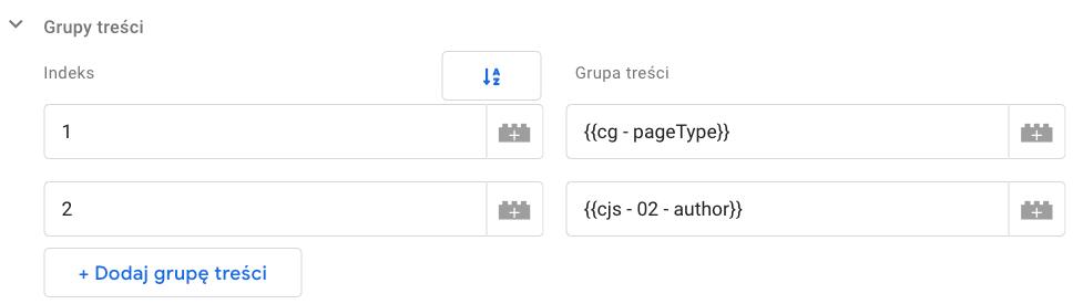 ustawienia zmiennej w GTM grupy treści