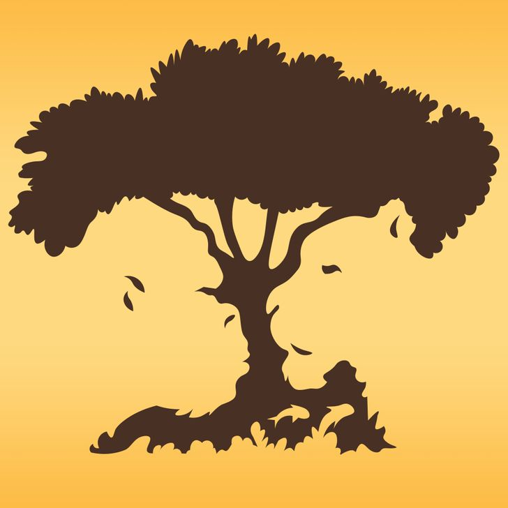 illusion image of a lion or a fish or a gorilla or a tree