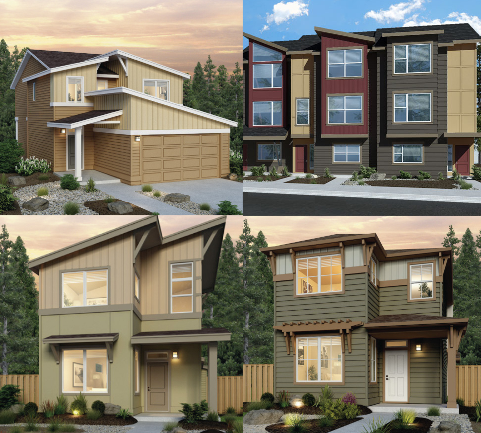 Emerald Pointe at Sunrise homes. The City Collection top left, The Metropolitan Collection top right, and The Urban Collection bottom left and right.