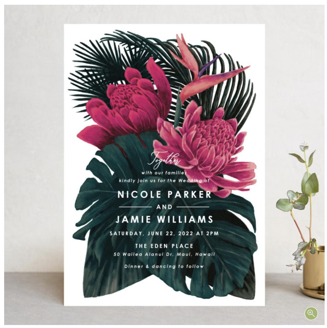 tropical modern wedding invitation