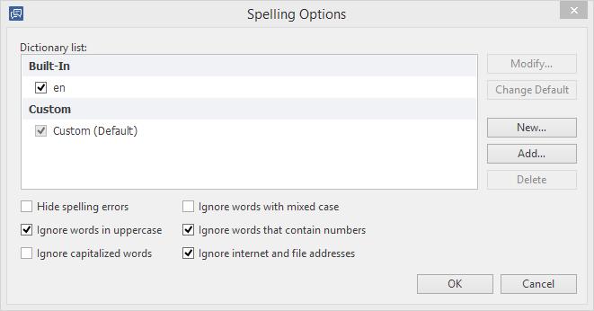 TalkMaster Spelling options