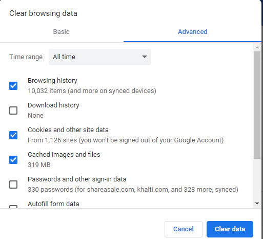 clear browser cache data in chrome
