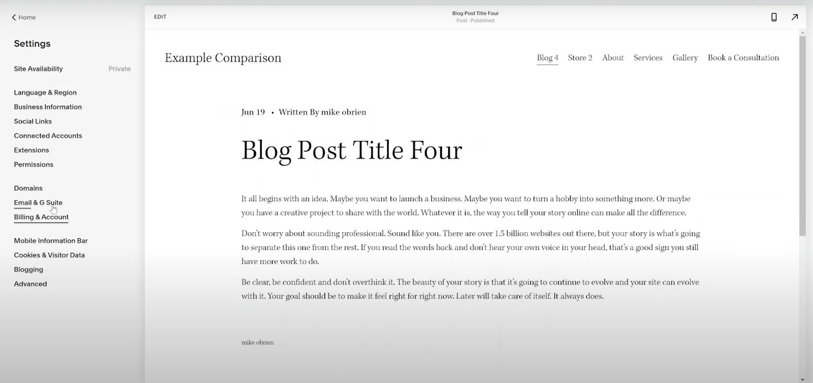 Squarespace Blog Editor