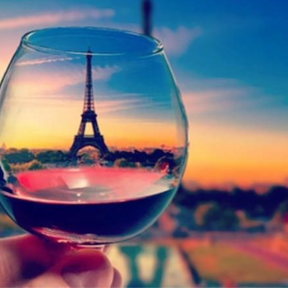 The Eiffel Tower from a wine glass