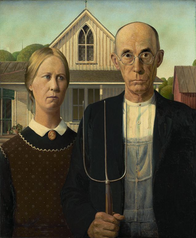 American Gothic by Grant Wood at the Art Institute of Chicago.