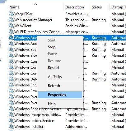 Windows Audio Service Properties