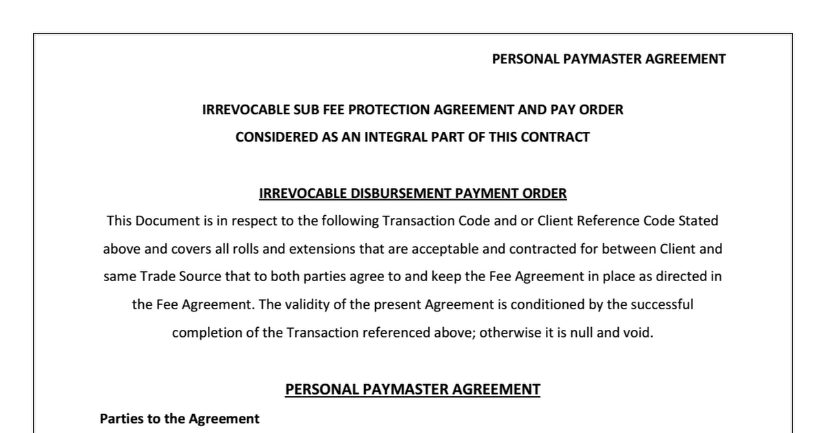 Imfpa Agreement Images Agreement Letter Format