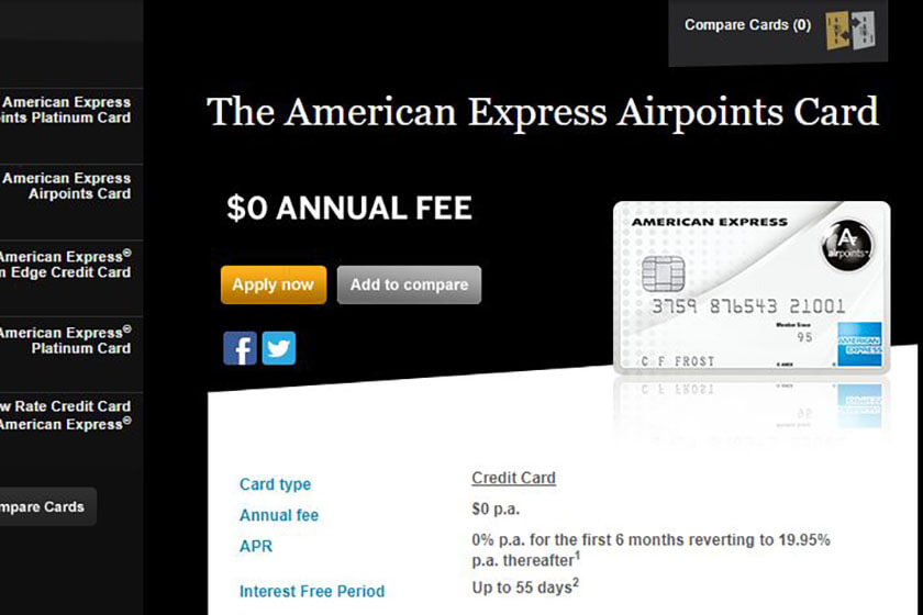 American Express Airpoints Card.