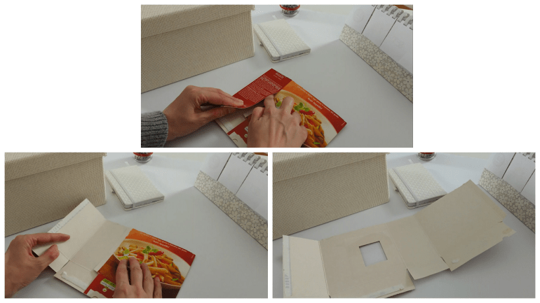 Carefully open old pasta boxes