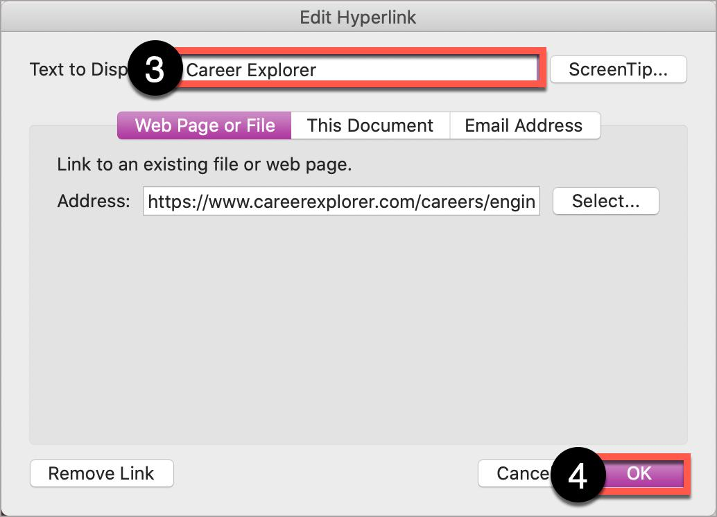 In the Microsoft Word Edit Hyperlink window, write text for the link in the Text to Display box, before selecting OK.