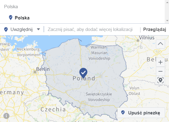 lokalizacja reklam na Facebooku