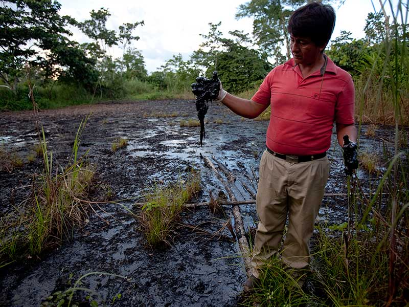 The black toxic sludge part of the toxic waste dump by Chevron