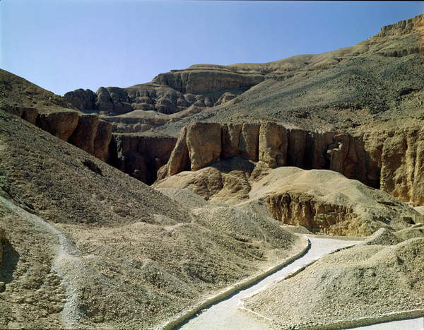 View of the Valley of the Kings (photo), Valley of the Kings, Thebes, Egypt, location of Tomb of Tutankhamun; © Bridgeman Images