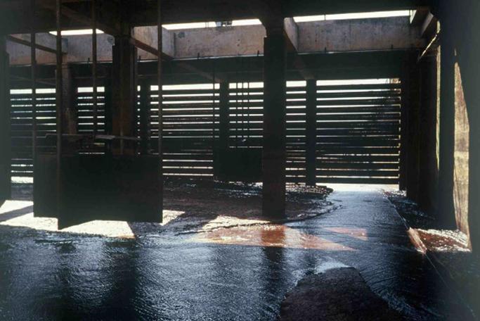 Interior do floculador mecânico.