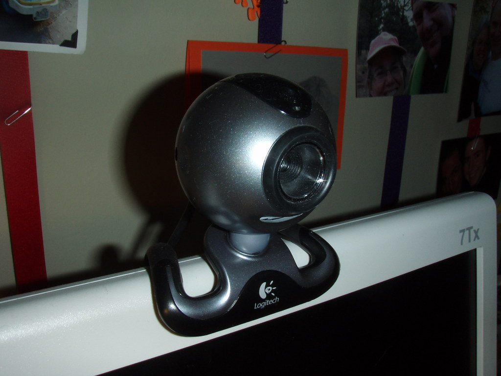 Webcamera positioned on a monitor