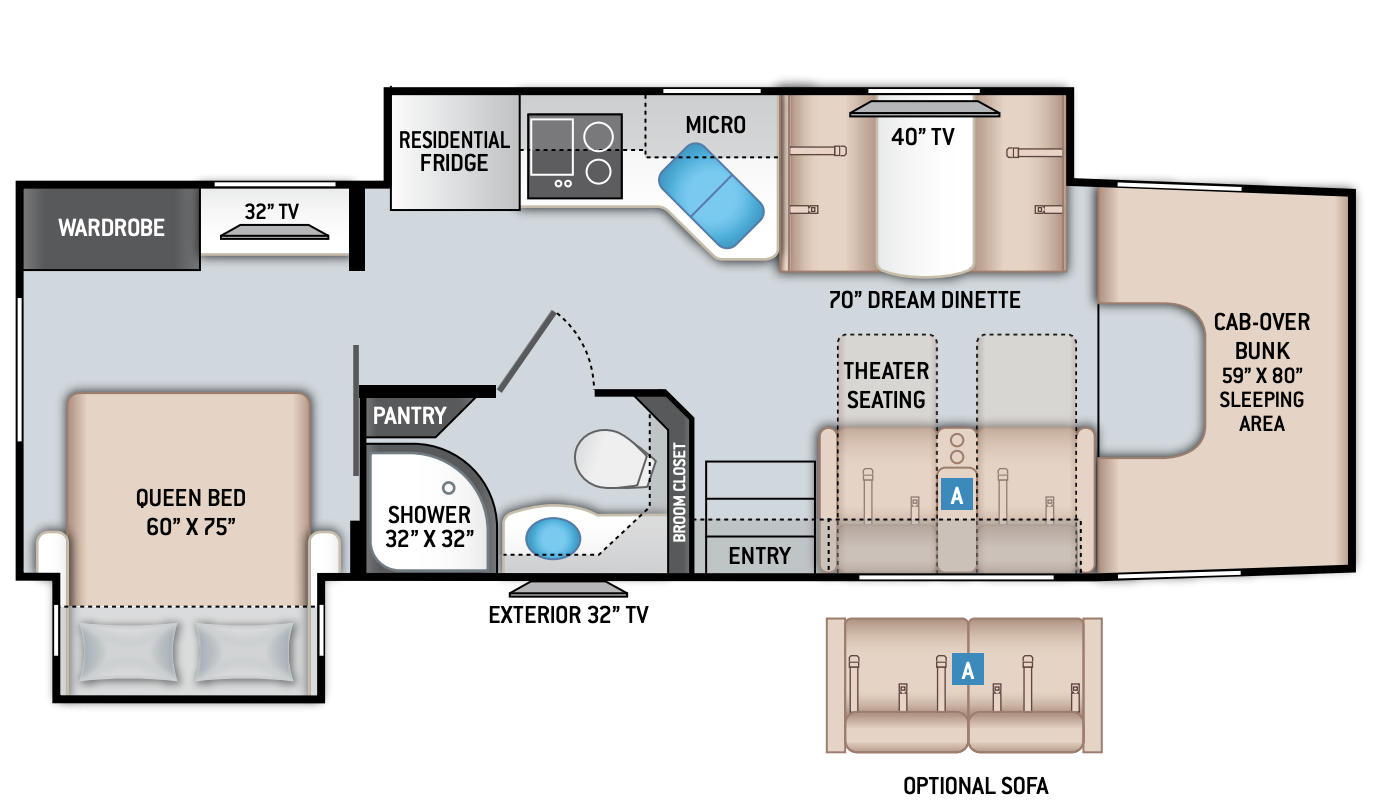 Floor plan for the family friendly The Thor Magnitude Super C XG32