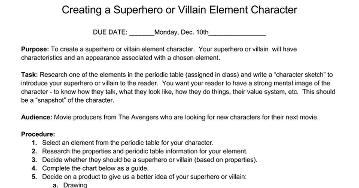 Periodic Table 10th element on the periodic table : Element Superhero/Villain Project - Google Docs