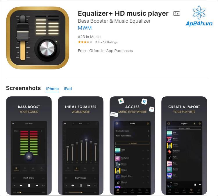 HD Music Player hỗ trợ chỉnh âm toàn bộ và riêng lẻ từng bài hát
