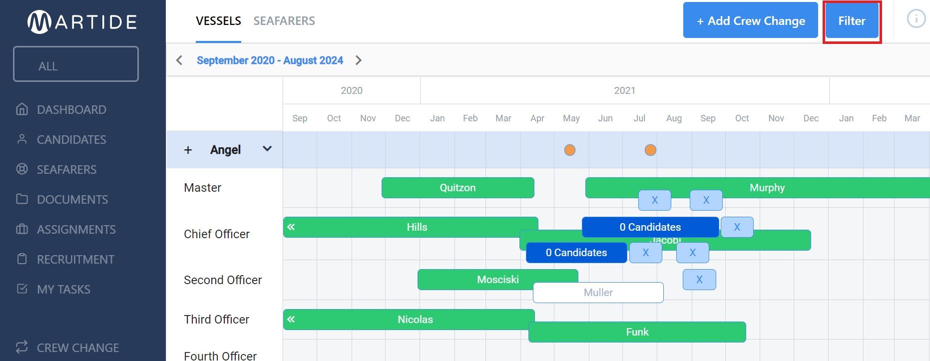 screenshot of Martide maritime recruitment website showing the planning calendar.