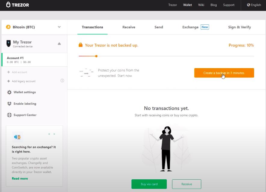 Screenshot of Trezor software back up interface.