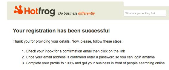 hotfrog registration complete