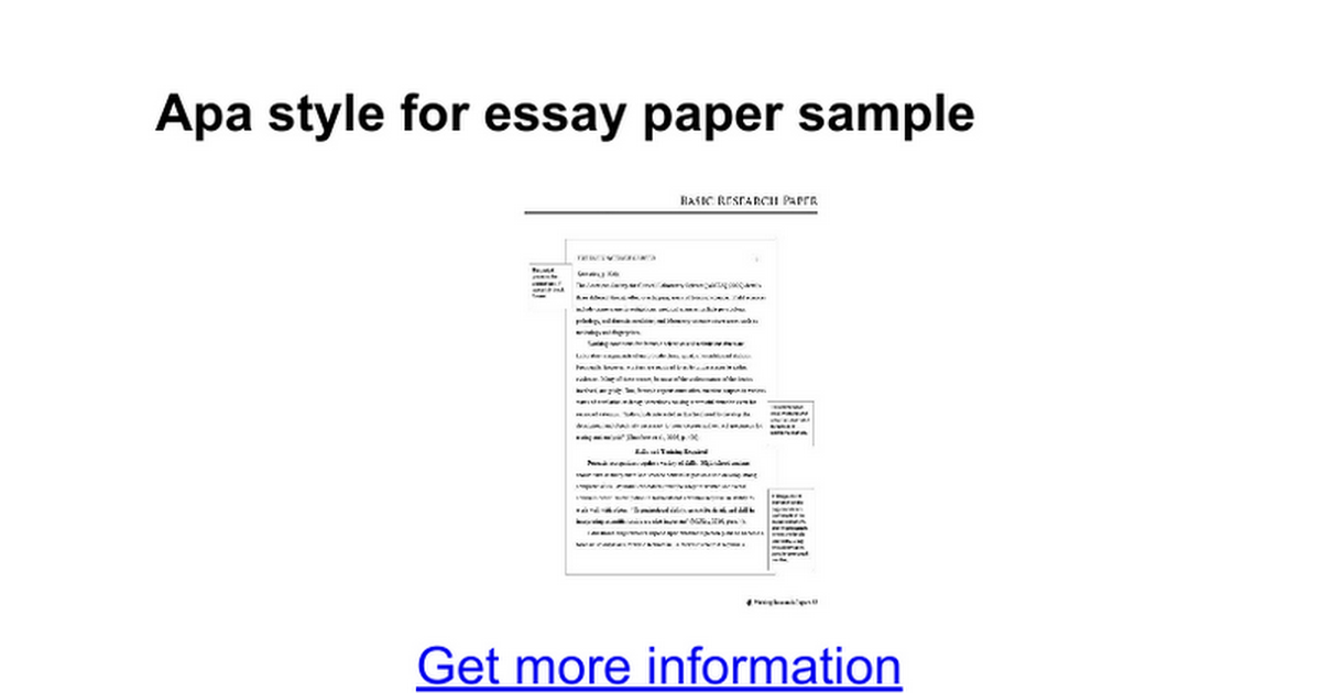 table contents research paper apa
