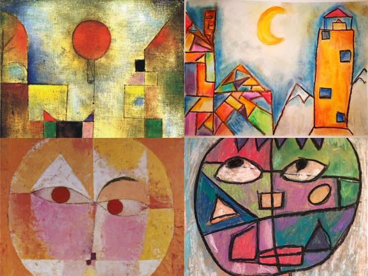 以下四组图片中: 左图为大师们的原作,右图为孩子们运用大师原作中的绘画元素自己创作的作品。