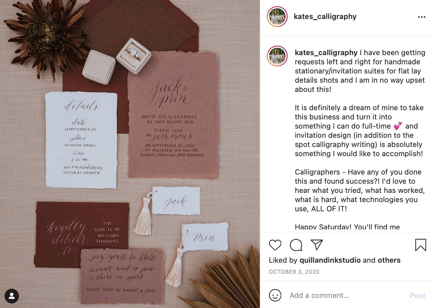 handwritten wedding invitations utilizing calligraphy