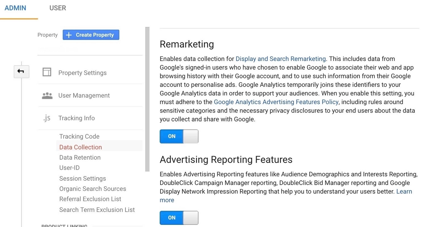 ad features in Google Analytics